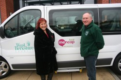 Leila Ferguson of West Berks Mencap receives the keys to its new bus